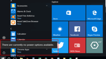 how to disable power options in windows 10 start menu