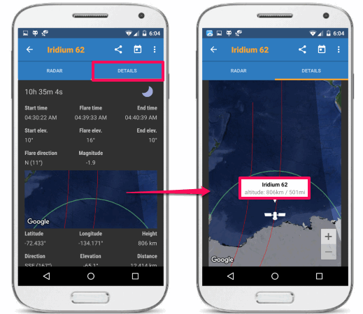 iis app satellite location simulation