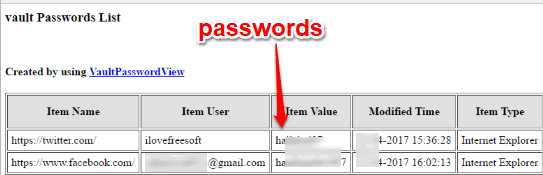 microsoft edge passwords exported as html files