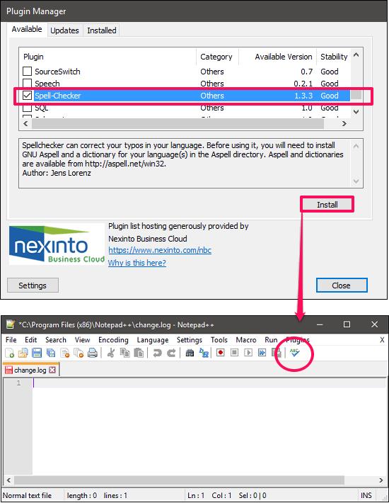 notepad ++ spell checker added