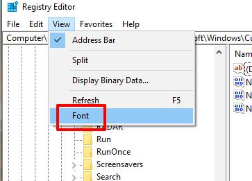 open font option in view menu