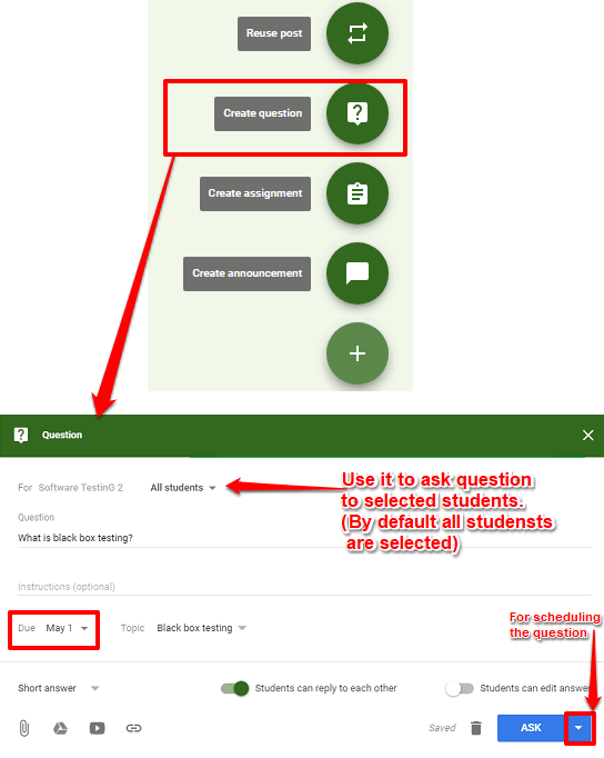 posting question in google classroom
