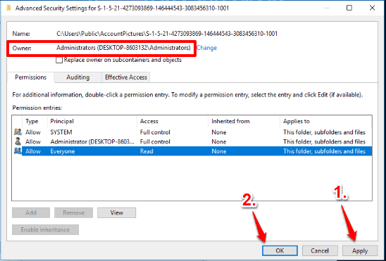 press apply and ok buttons to close advanced security settings window