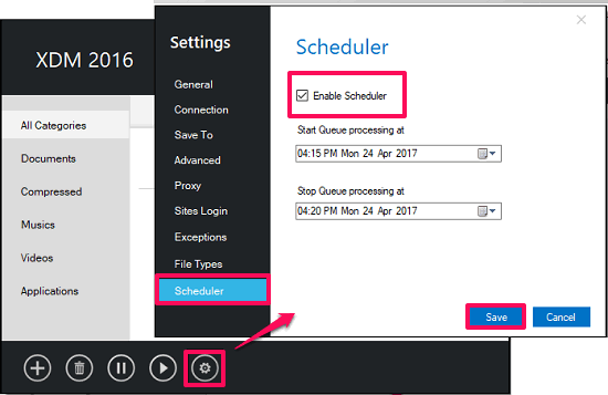 scheduling in xtreem download manager