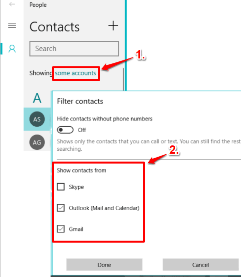 select accounts to show all contacts