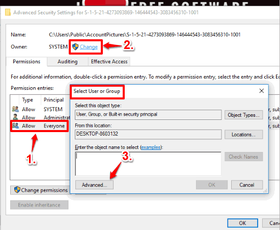 select change option and then advanced button