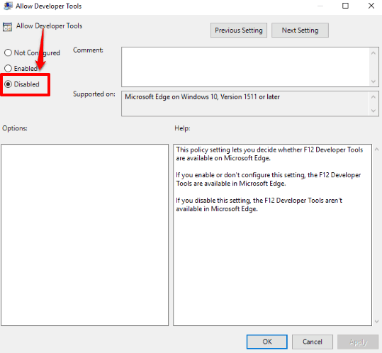 select disabled option and save