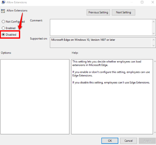 select disabled option and then save changes