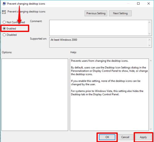 select enable option
