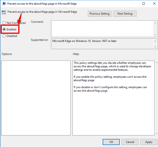 select enabled option and apply your changes