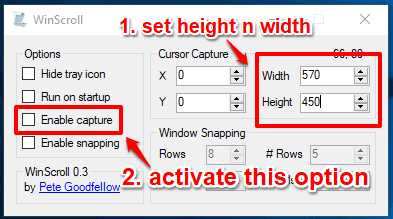 set height and width and enable capture option