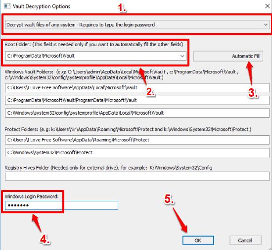 set vault decryption options