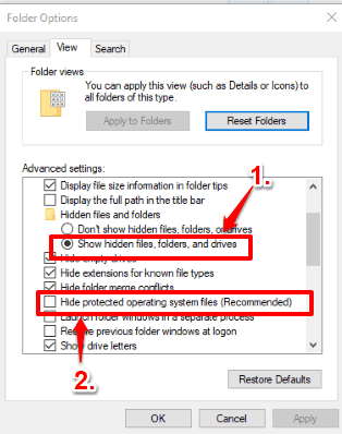 show hidden files and uncheck hide protecting operating system files option