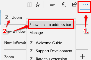 show zoom extension on address bar