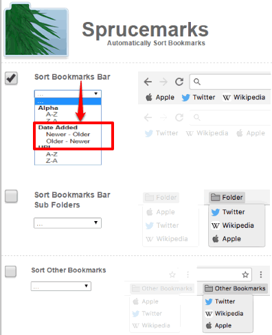 sort bookmarks by date using sprucemarks