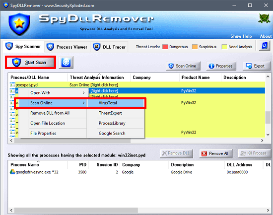 spy dll remover in action
