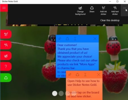 Windows 10 Sticky Notes App with Colorful Stickers and 4