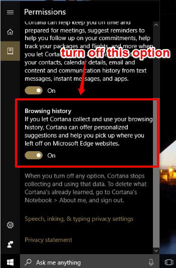 turn off browsing history option