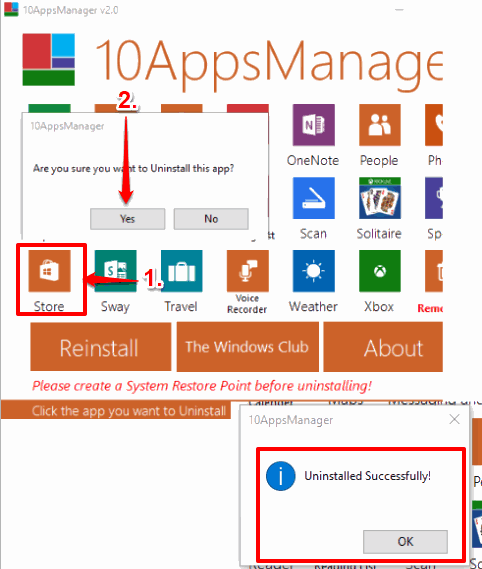 uninstall store app in windows 10 using 10AppsManager