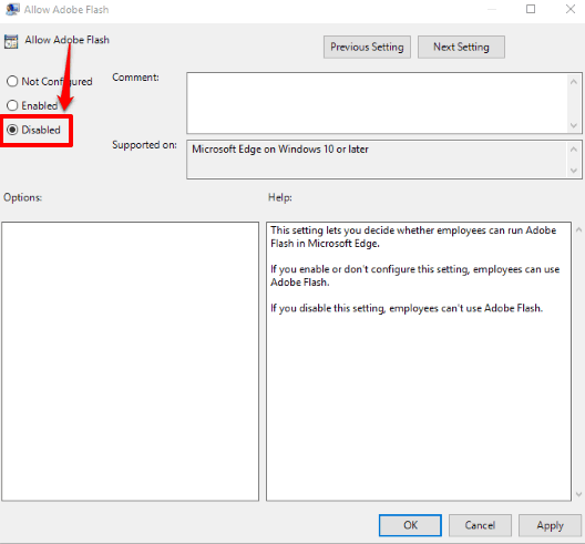 use disabled option and save