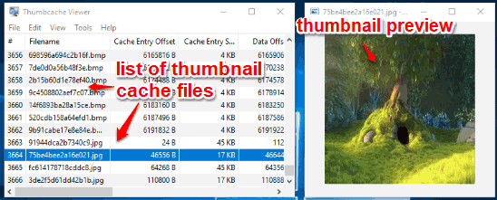 view list of thumbnail cache files and preview thumbnail