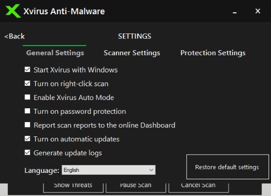 xvirus settings