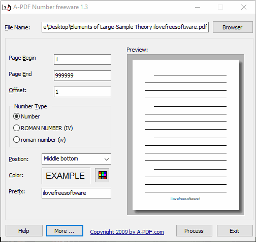 A-PDF Number interface