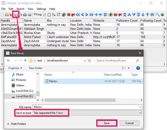 CSVpad convert CVS to TSv