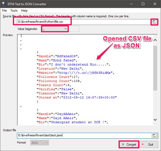 DTM text to JSON converter convert CSV