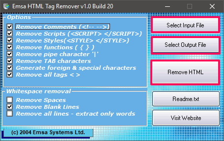 Emsa HTML Tag Remover convert html to text