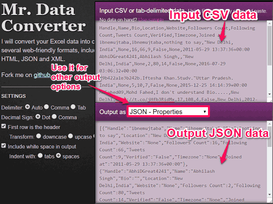 Mr Data Converter convert csv to json