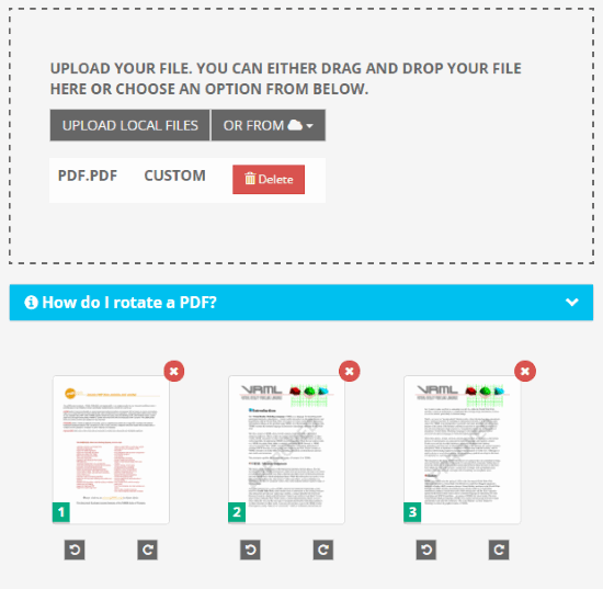 PDF2Go rotate PDF feature