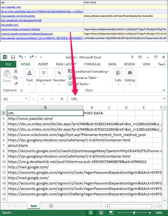 Paessler URL Recorder csv url export