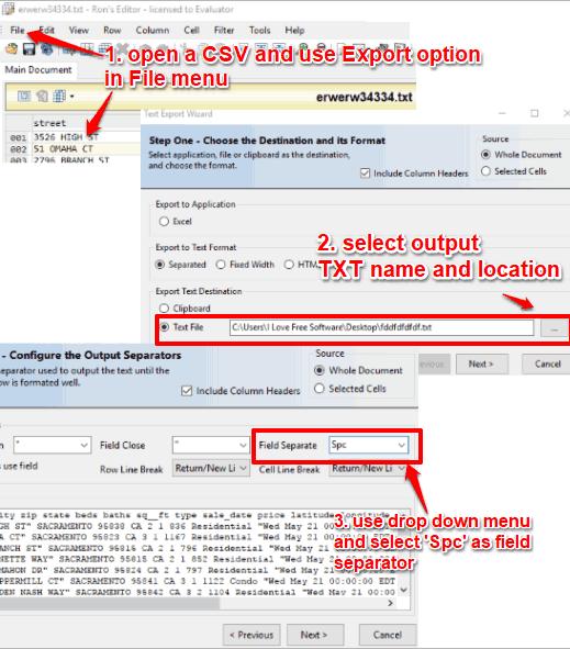 Ron's Editor export csv as txt
