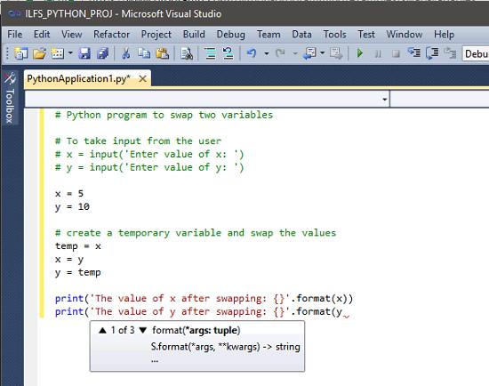 Visual Studio Writing Python Code