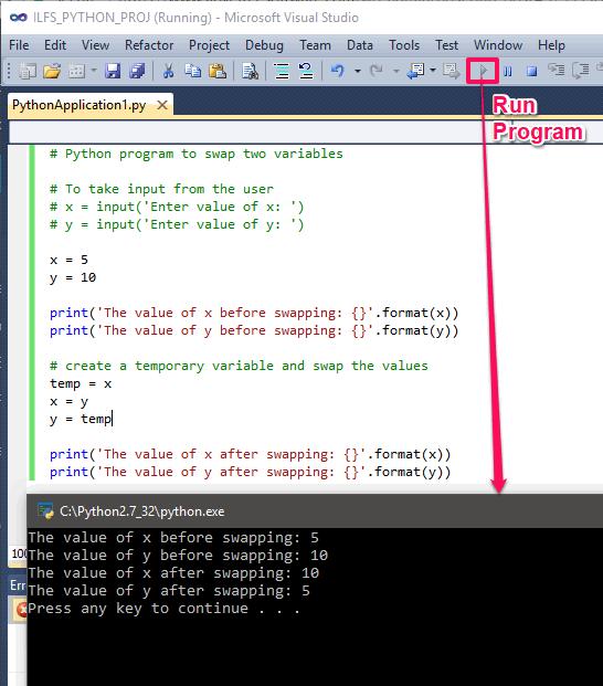 Visual Studio running program