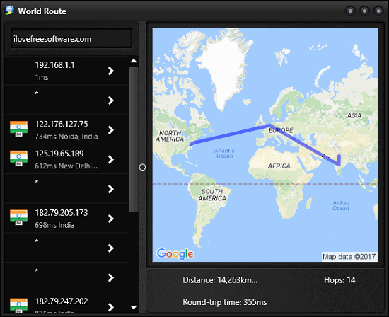 World Route Visual traceroute