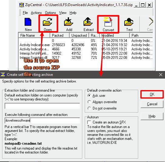 ZipCentral zip to exe converter