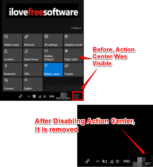 action center disabled in windows 10