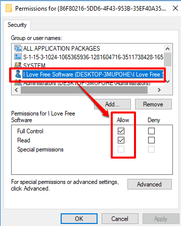 allow full control permission for your pc