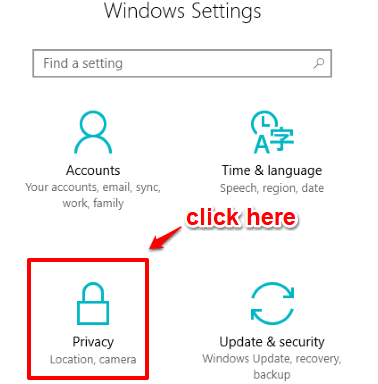click privacy menu