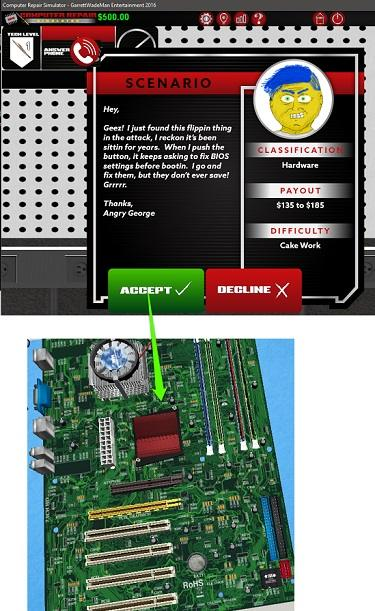 computer repair simulator assembly