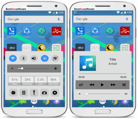 control center control panel- android app