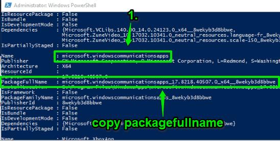 copy packagefull name