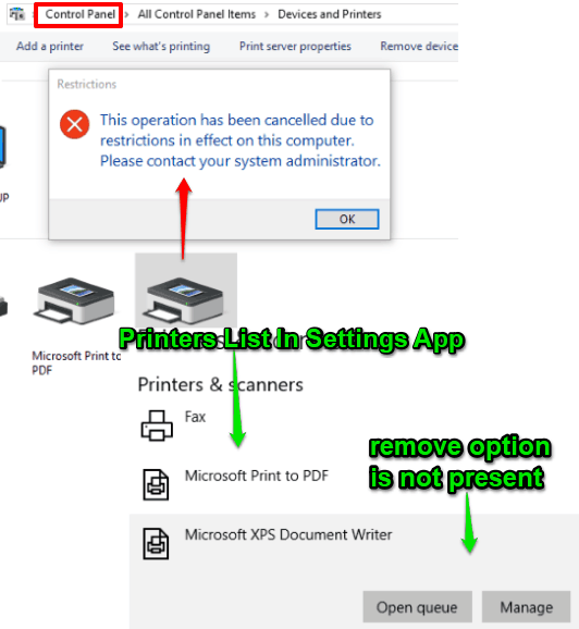 deletion of printers is disabled