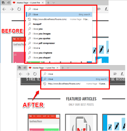 disable showing search suggestions in address bar of Edge browser