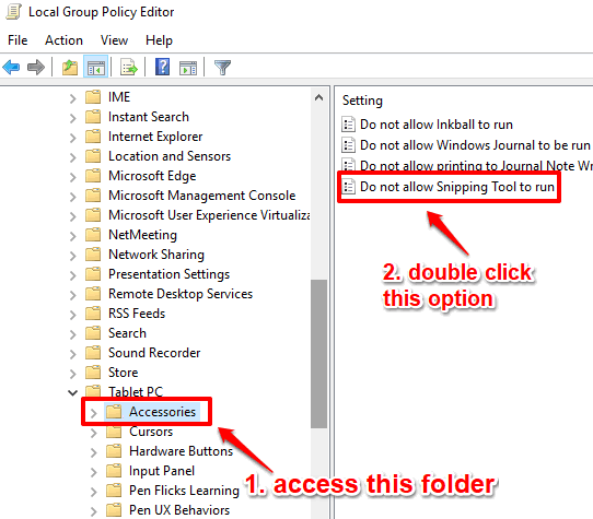 double click do not allow snipping tool option in accessories folder