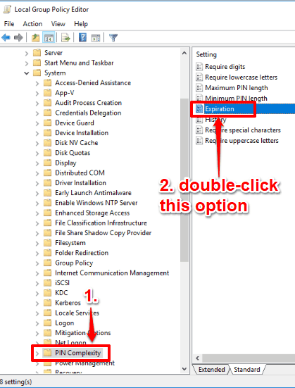 double click expiration option available in pin complexity folder