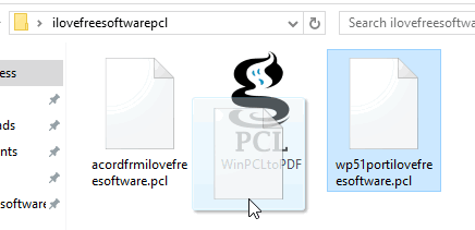 drag pcl file on WinPCLtoPDF application