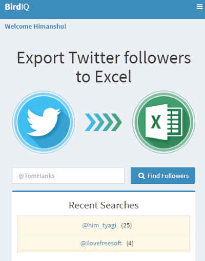 export twitter followers to excel